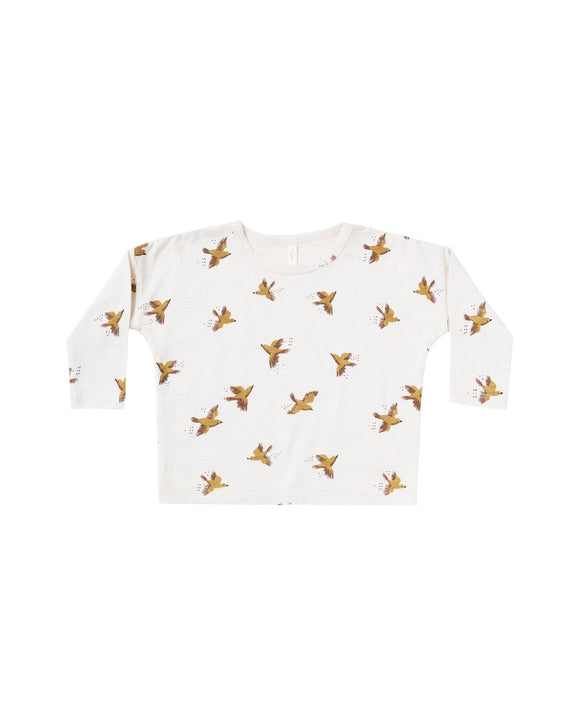 Rylee and Cru Songbirds Birds Boxy Tee in Ivory - Flying Ryno