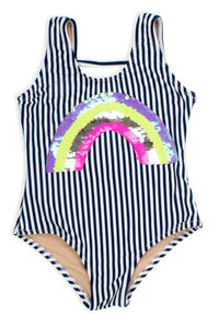 Shade Critters Navy and White Striped Suit with Flip Sequin Rainbow - Flying Ryno