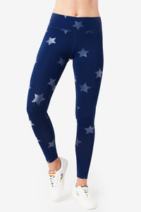 Terez Women's Navy Tonal Star Foil Leggings - Flying Ryno