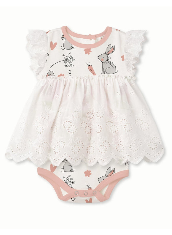 Tesa Babe Happy Bunnies Eyelet Flutter Sleeve Skirted Bodysuit - Flying Ryno