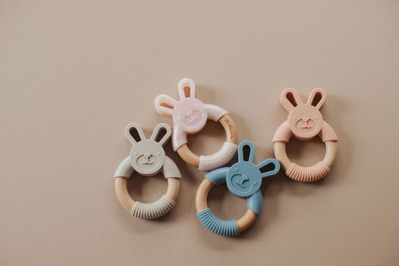 Three Hearts Bunny Ear Silicone Teether - Flying Ryno
