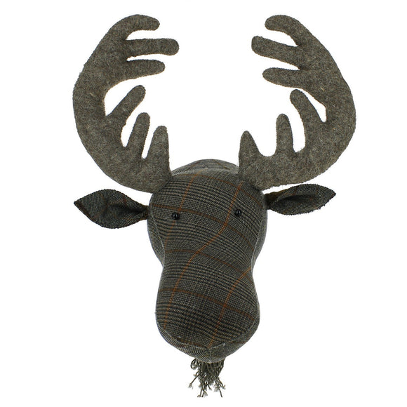 Tweed Moose Felt Animal Head - Flying Ryno