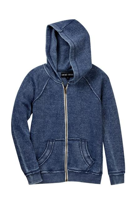 Vintage Havana Full Zip Burnout Hoodie Navy - Flying Ryno