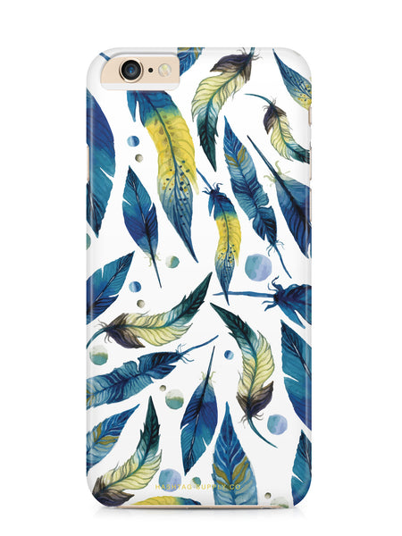 Blue and Yellow Watercolor Feathers Phone Case