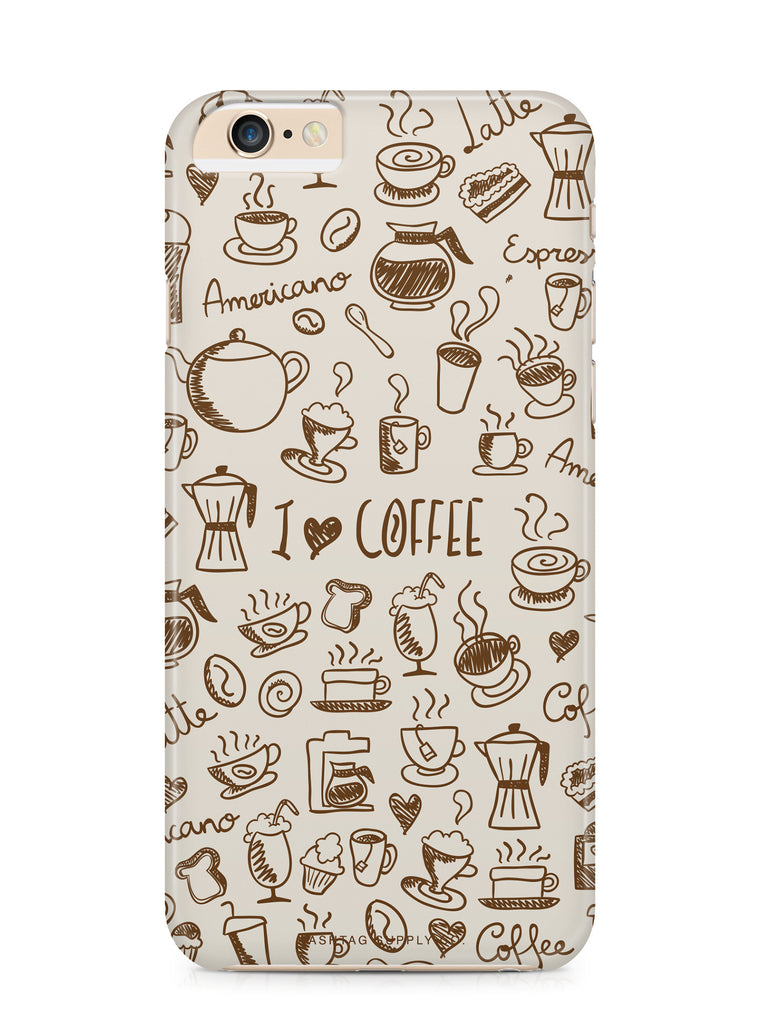 Hand Drawn I Love Coffee Phone Case
