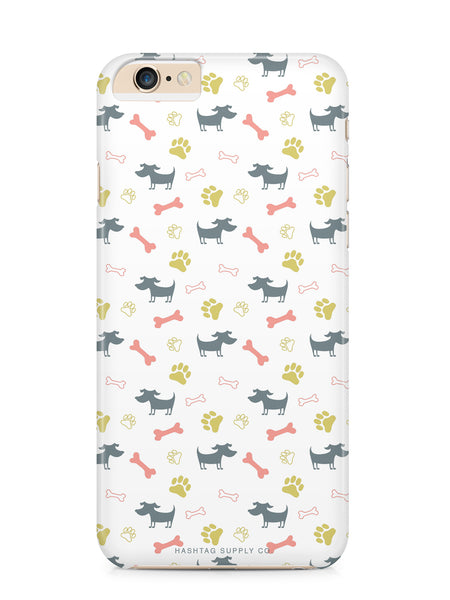 Dog, Paw, & Bones Pattern Phone Case