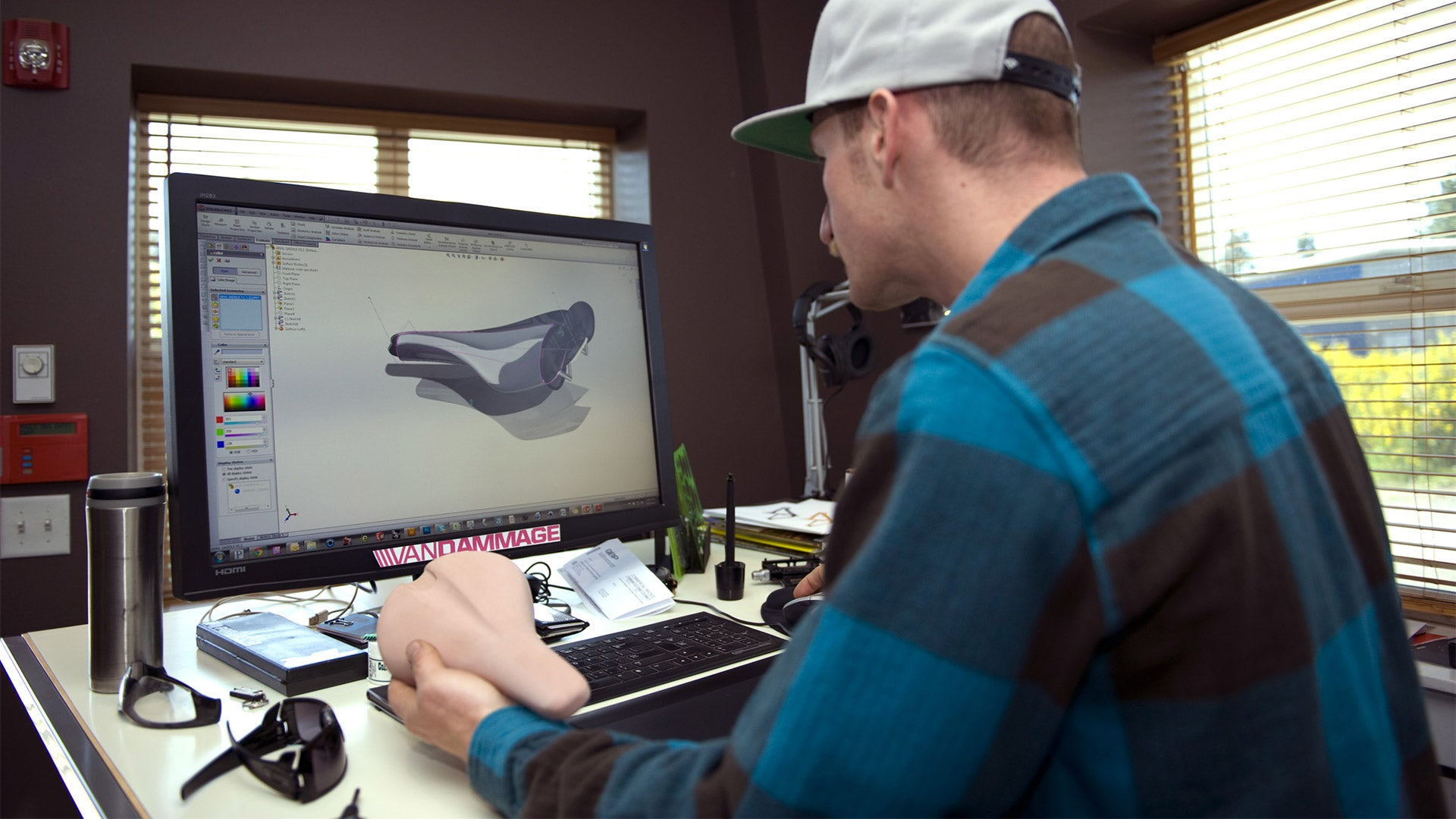 Darrin working on the 3D modelling for the Forge saddle