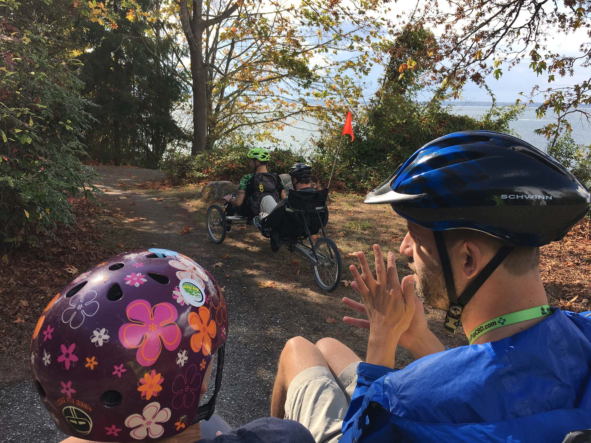 The Bellingham YMCA Pedicab out for a ride with members of the Max Higbee Center