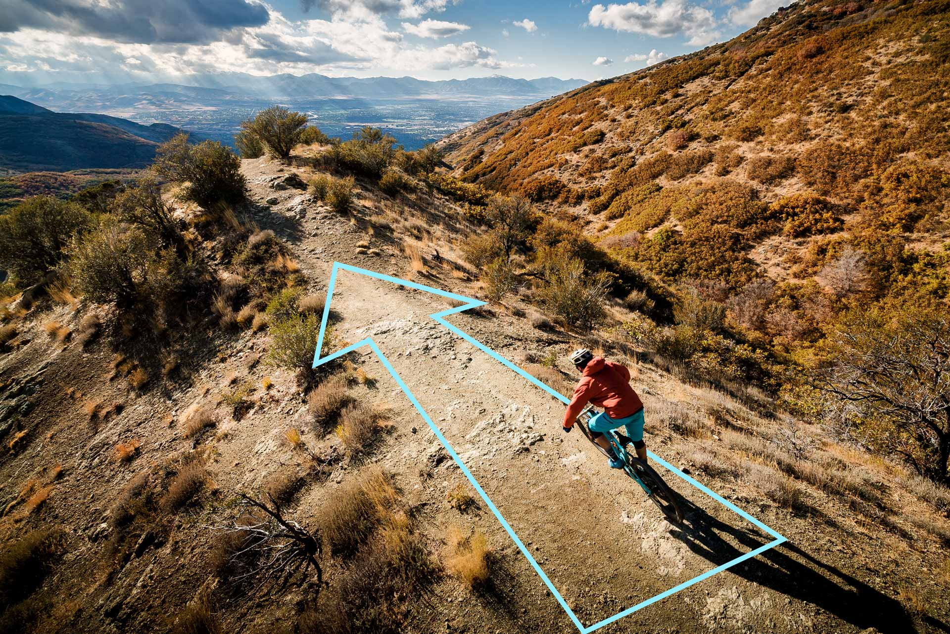 How to take great mountain bike photos - Step four: Use lines to direct your eye to the subject.
