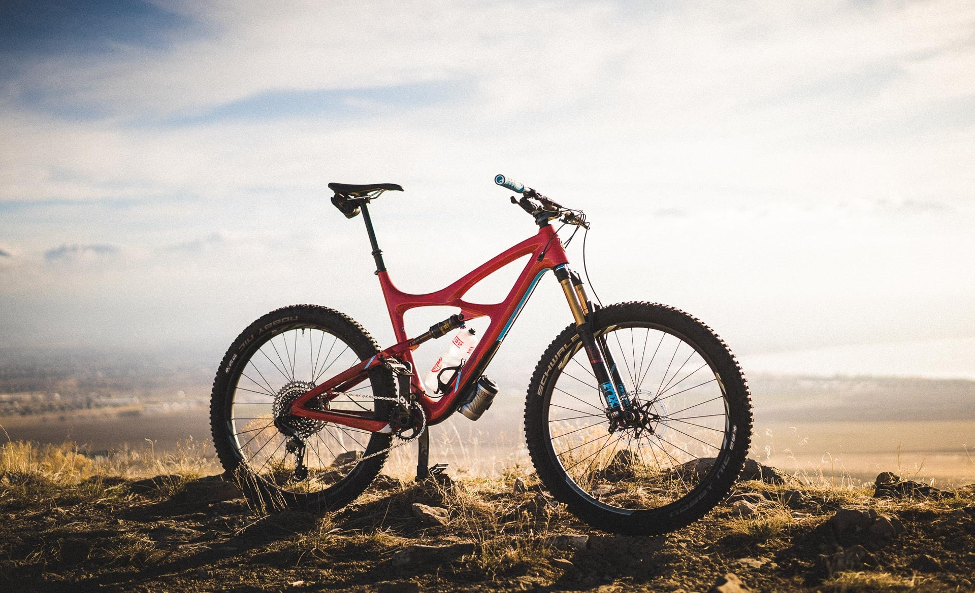 A red race car of a mountain bike