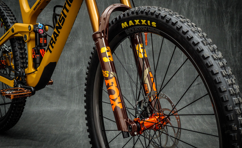 A gorgeous Transition Sentinel with the limited edition Root Beer Fox 36 - the perfect example of a bike as art