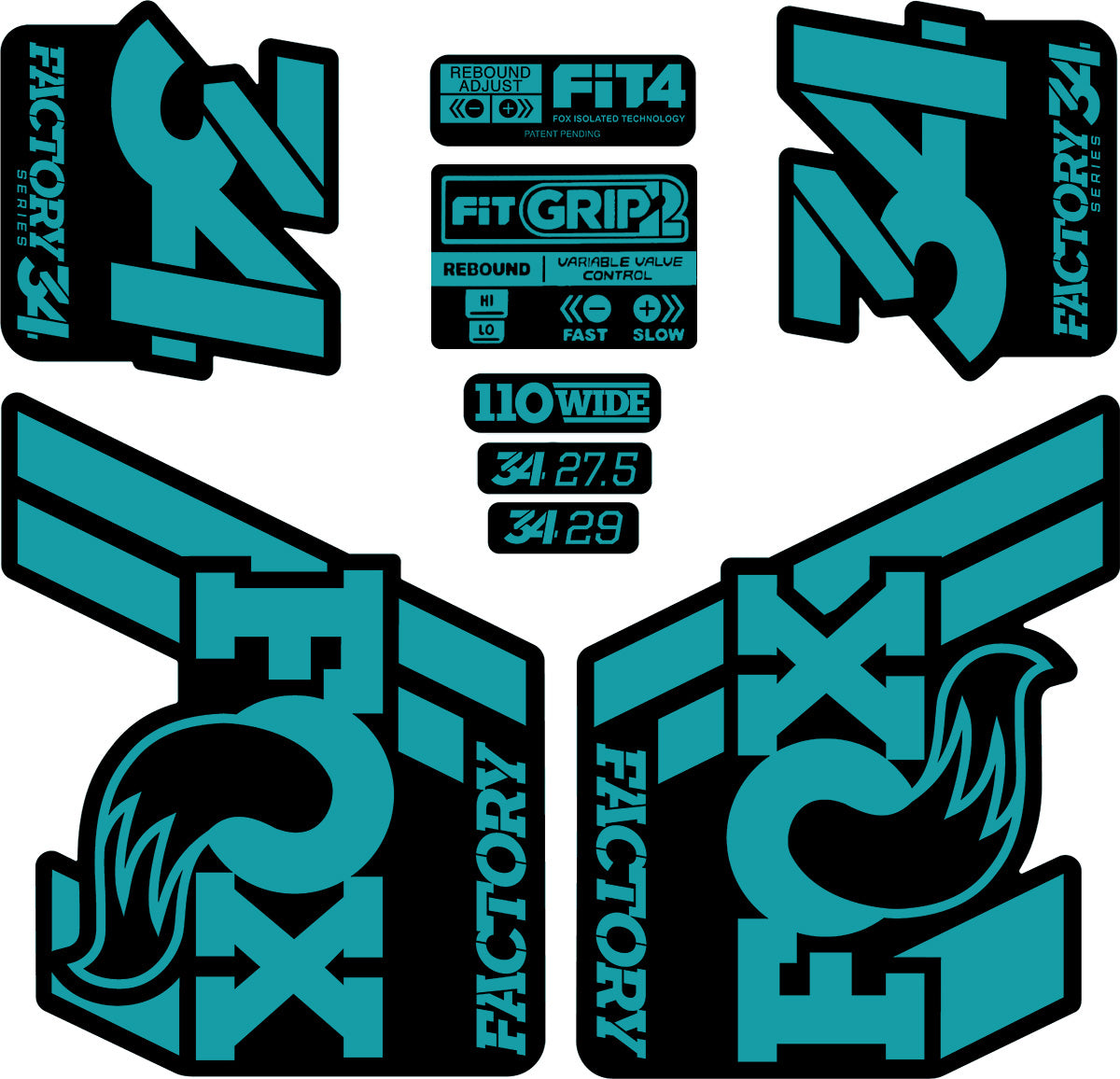 FOX 32 Float 2017 Forks Suspension Factory Decals Stickers Adhesive Oil Slick