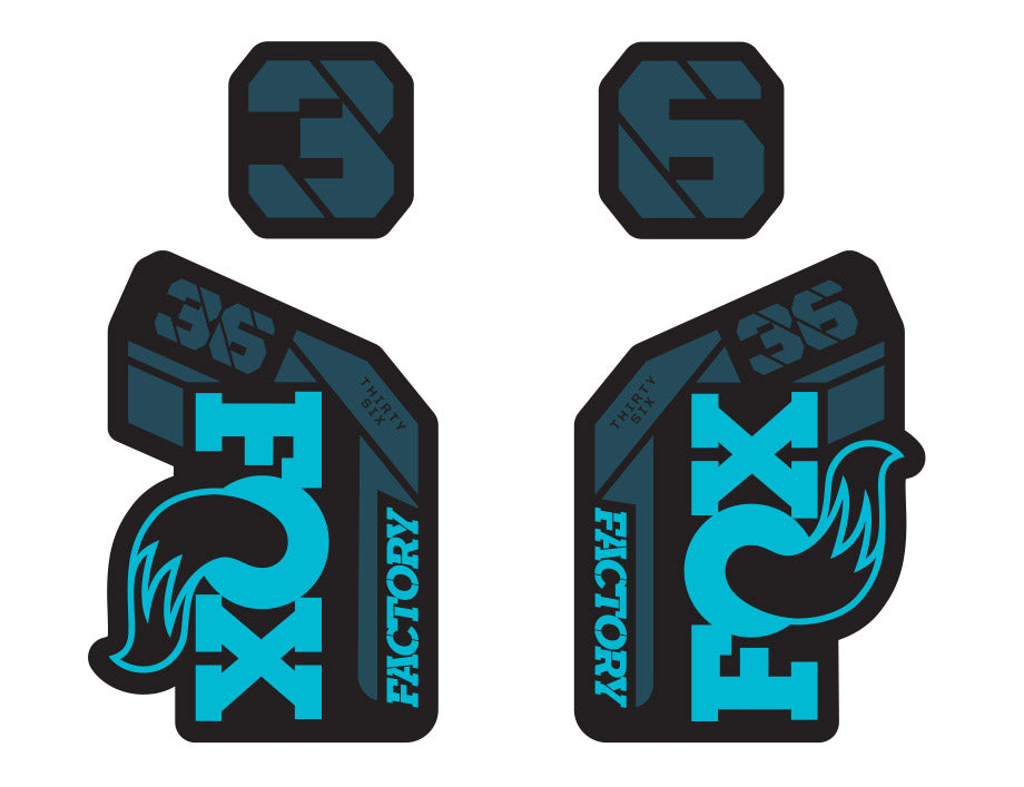 Fox 36 Factory 2021 FORK Stickers Decals Graphics Mountain Bike 2020 blue