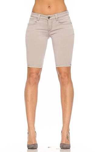 Rubberband Stretch Women's Bermuda Shorts (Sarina/Light Grey) Size 25(1/2)