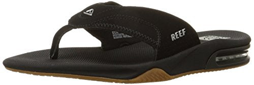Reef Fanning Mens Sandals  Bottle Opener Flip Flops For Men,BLACK/SILVER,5 M US