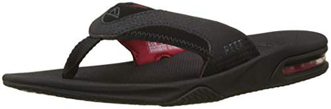 Reef - Mens Fanning Sandals, Size: 13 D(M) US, Color: All Black/Red
