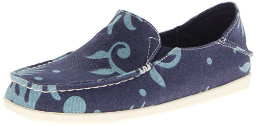 Olukai Nohea Canvas Print Womens Casual Shoe Deep Sea - 6