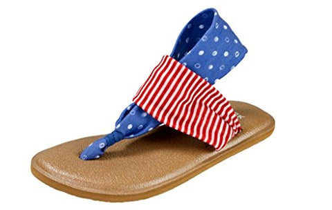 Sanuk Sandals Girls Yoga Sling Patriot 6/7 Youth Dots Stripes