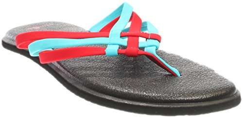 Sanuk Womens Yoga Salty Criss Cross Flip Flop Sandal Aqua/Bright Red Size 7