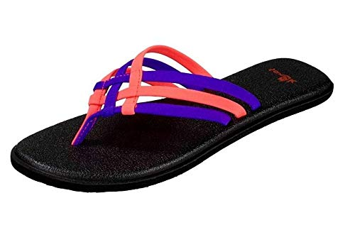 Sanuk Womens Yoga Salty Criss Cross Flip Flop Sandal Liberty/Tropical Papaya Size 7