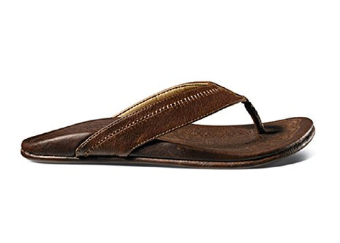 OluKai Hiapo Mens Sandals in Teak/Teak sz:13