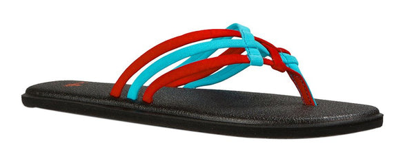 Sanuk Womens Yoga Salty Criss Cross Flip Flop Sandal Aqua/Bright Red Size 6