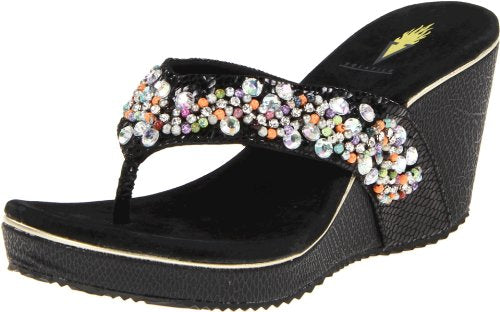 Volatile Women's Presto Wedge Sandal,Black,8 B US