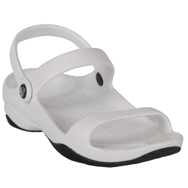 DAWGS Women's Premium 3-Strap Sandals - White with Black
