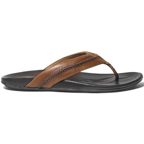 OLUKAI Men's MEA Ola Sandals, Tan/Dark Java, 12 M US