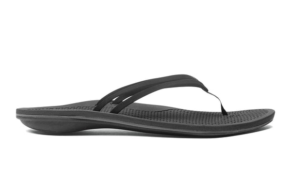 OluKai Unahi - Womens Cushioned Sandals Black/Black - 6