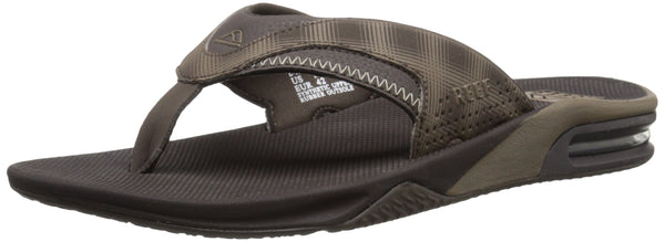 Reef Men's Fanning Prints Sandal, Brown Plaid, 8 M US