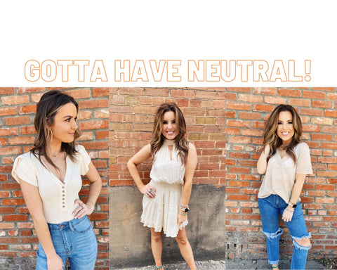 Spring Trends 2021. Blog Post Top 10 Spring Trends. Neutals. Must Have Neutrals. Multitudes Boutique. Cutest Online Clothing Store.
