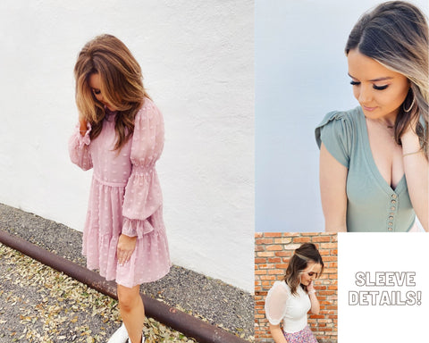 Spring Trends 2021. Blog Post Top 10 Spring Trends. Puff Sleeves. Multitudes Boutique. Cutest Online Clothing Store.