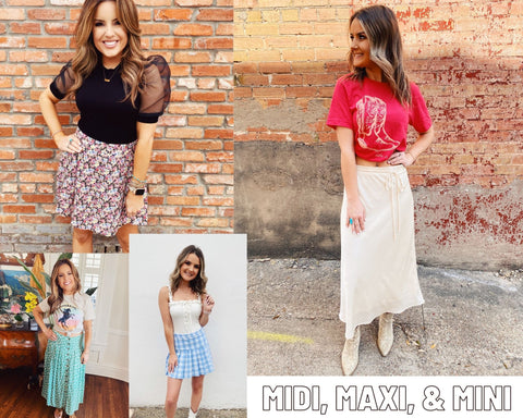 Spring Trends 2021. Blog Post Top 10 Spring Trends. Midi Skirts. Cute Summer Skirts. Maxi Skirts. Floral Print Skirts. Mini Skirts. Multitudes Boutique. Cutest Online Clothing Store.