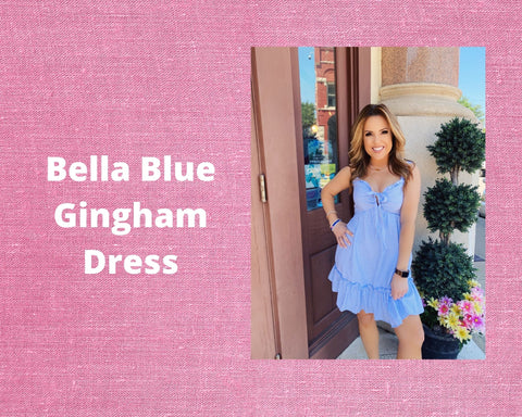 The Bella Blue Gingham Dress is the perfect summer sundress! This Cute Gingham Dress features a tie front bodice with mini ruffle, and a tiered ruffle hem. And what is more summery than blue and white gingham! This Summer Dress Outfit will keep you super cool, and looking adorable! Cutest Online Boutique.