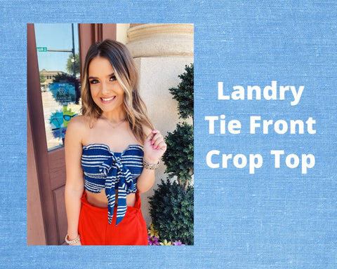 The Landry Tie Front Crop Top is perfect for all your summer outings! The navy and white stripes on this Smocked Crop Top definitely lend a summer vibe. This Tie Front Crop Top is fully smocked and can be cinched. Pair this Blue Crop Top with white denim for a crisp, chic look. Cutest Online Boutique.
