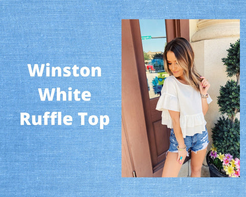The Winston White Ruffle Top is perfect for your summer outfits! This Ruffle Crop Top features a shorter length, a relaxed fit, a gauze-like fabric, and ruffles along the hem and sleeves. This White Gauze Top is simple, will keep you cool, and will look great with denim! Cutest Online Boutique.