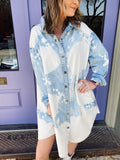 Bleached Denim at Multitudes Boutique - The Bonnie Bleached Denim Dress is trendy and fun! This Denim Tunic can be worn as a dress, a jacket, or a tunic. This Oversized Denim Shirt is light washed with splashes of white bleached out spots for an updated, trendy look! Multitudes Boutique. Cutest Online Clothing Store.