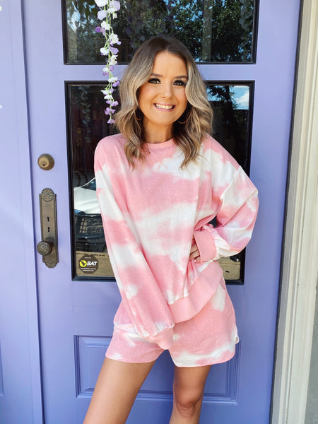 Already looking for a new Two Piece Lounge Set? Snag these Pink Tie Dye Lounge Shorts and the matching top! Wear these lounge shorts with the matching Pink Tie Dye Lounge Top or your favorite Honeysuckle Tee! Multitudes Boutique. Cutest Online Boutique. Honeysuckle Tees.
