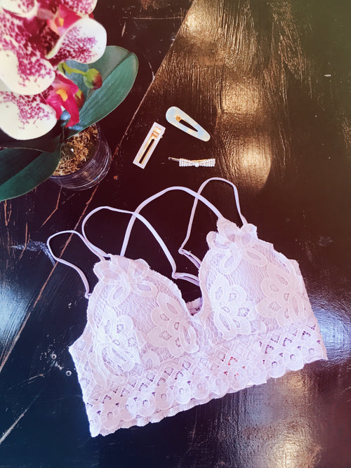 The Lavender Scallop Detail bralette is the perfect way to add a little feminine flair to any outfit! We love the battenburg lace detailing, the adjustable straps, and smocked back. This one is not only pretty, but it's super comfy as well. Best Online Boutique. Multitudes Boutique. Free Shipping on Orders.