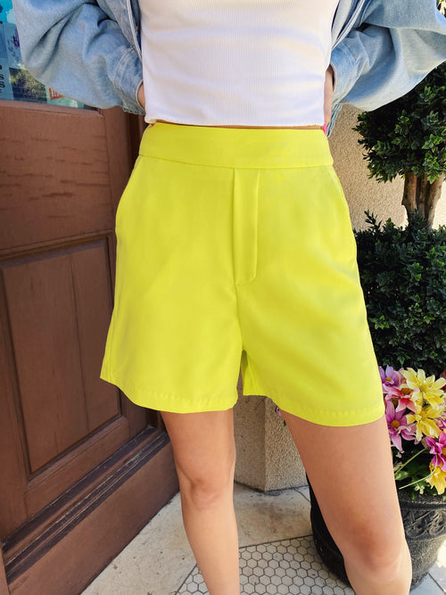The Perfect Ultra Lime Shorts are stunning! Wear these Structured Shorts casually like we did here, or dress up with a cute top and heels. These Dress Shorts for Women pull on, have an elastic back and pockets. Runs True to Size. Fully Lined. Multitudes Boutique. Cutest Online Clothing Store.