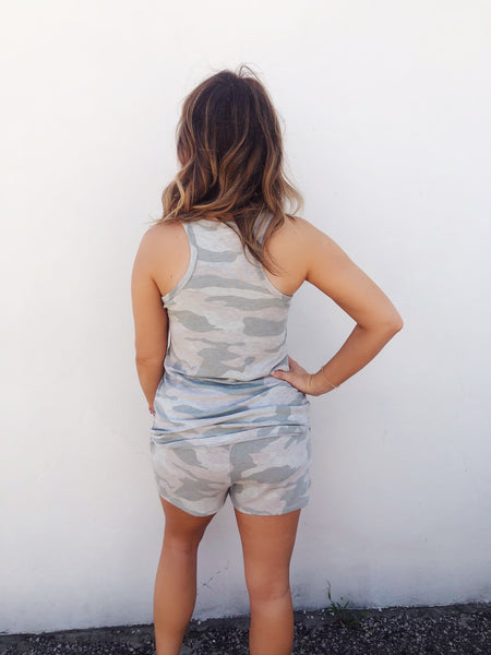 If Camo Print can be pretty, then this Sage Camo Tank Top is the example, and you NEED it! It's part of a two piece set. Pair it with matching Sage Camo Lounge Shorts, or wear it with your distressed denim shorts for an easy, comfy look! Multitudes Boutique. Cutest Online Boutique. Two Piece Lounge Set.
