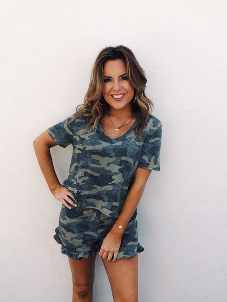 Hey girl, want to combine Camo Print and Soft Shorts? Well, check out the Olive Brushed Camo Lounge Shorts! They are the softest shorts ever! Pair these with the Olive Brushed Camo V-Neck and you'll never want to put anything else on! Multitudes Boutique. Cutest Online Boutique. Free Shipping $65 and Over.