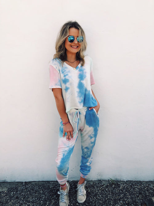 Looking for some new Tie Dye Sweatpants? Check out these super Soft Pastel Tie Dye Joggers! Cute Tie Dye Joggers seem to be the Must-Have comfy lounge pants during this quarantine, and you will find us wanting to wear our Soft Pastel Tie Dye Joggers every day! Multitudes Boutique. Cutest Online Boutique.
