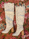 The Snakeskin Saint Knee High Boots belong in your closet!! This knee high boot is hand-detailed with only the finest materials. After months of daily wear, The Saint only gets more comfy. Knee High Boots. Snakeskin Knee High Boots. Multitudes Boutique. Cutest Online Boutique.
