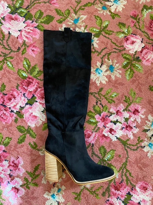 Black Saint Knee High Boots