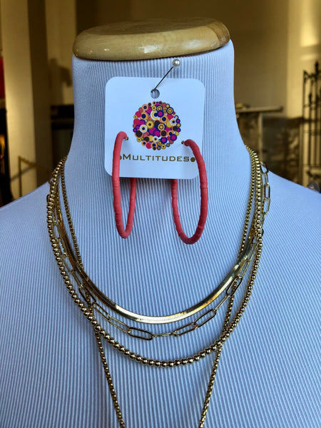 "Colorful Hoop Earrings at Multitudes Boutique - The Sunset Pink Earrings are disc record bead hoop earrings on a gold base. These lightweight hoops are bright and cheery! 2"" nickel and lead-free hypoallergenic lightweight. FREE shipping over $75! Multitudes Boutique. Cutest Online Clothing Store."