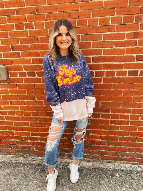 Share your Positive Quote of the Day! Snag this Hate Elsewhere Bleached Sweatshirt and tell the world! Pair this Bleached Sweatshirt with your distressed shorts, mom jeans, heck, even your yoga pants, and remind those around you to Be Kind and Love One Another! Multitudes Boutique. Cutest Online Boutique.