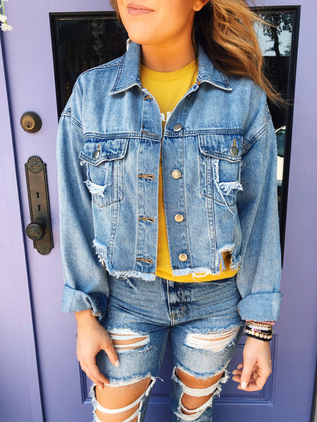 Looking for a Ripped Denim Jacket? Then grab this Super Distressed Denim Jacket! Girl, we feel ya! Our denim jackets needed upgrading, too! That's why we snagged this Super Distressed Denim Jacket! It's stylish and trendy and you will grab for it all year long! Multitudes Boutique. Cutest Online Boutique.
