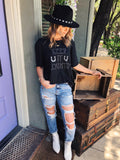 Y'all, these are the cutest High Rise Distressed Jeans we've seen in! High Rise Distressed Jeans are trending, and these Medium Wash Distressed Boyfriend Jeans are what you're looking for. We love the exaggerated distressing and the way these High Rise Boyfriend Jeans fit! Multitudes Boutique. Cutest Online Boutique.